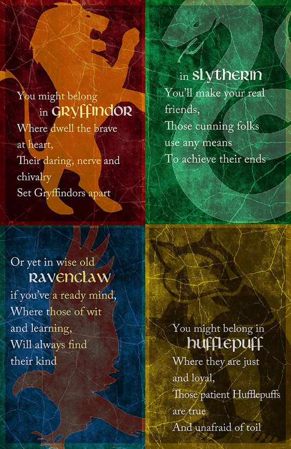 Poster design based on the Sorting Hats song and the four Hogwarts houses - Gryffindor, Slytherin, Ravenclaw and Hufflepuff Printed on 11 x 17