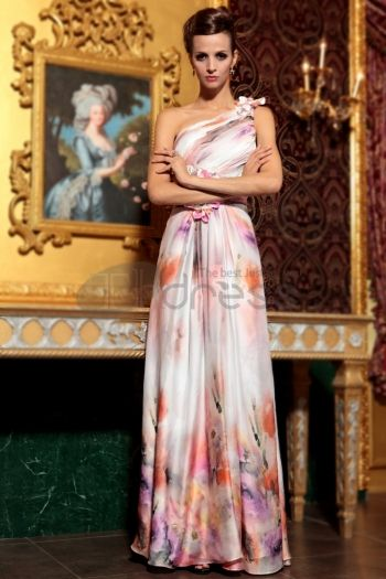Abiti in Magazzino-violaceo rosso una spalla senza schienale lunghi abiti da damigella d\'onore da sera di stampa