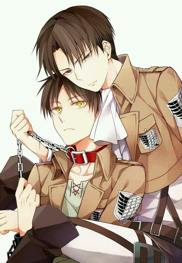 Attack in Titan ~~ Sure, put your pet Titan on a leash, Heichou. That collar would never slip off, right? :: Eren and Levi