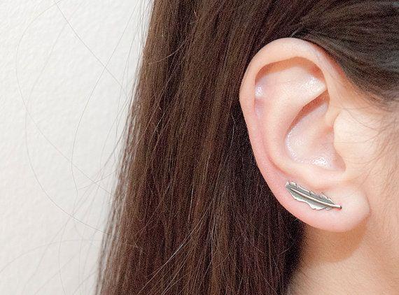 Ear Cuff Ear Climber Sterling Silver Feather ear by MelioJewels