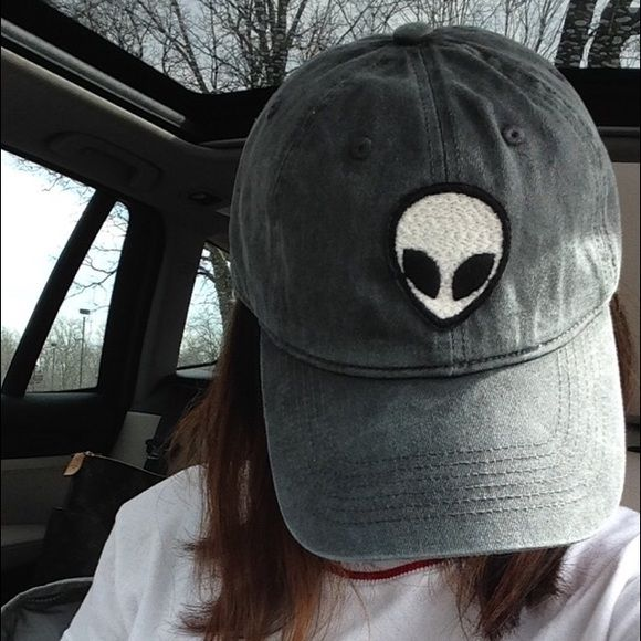 NWT washed gray alien patch cap baseball cap NWT // brandy melville // highly sought for // feel free to negotiate, keep in mind posh commission rate! // (-: Brandy Melville Accessories Hats