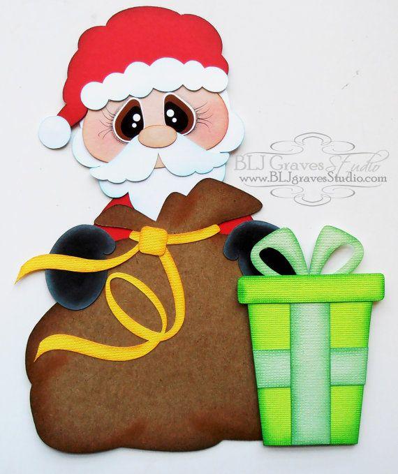 Premade Paper Piecing for Scrapbook Page Santa Christmas Handmade 030