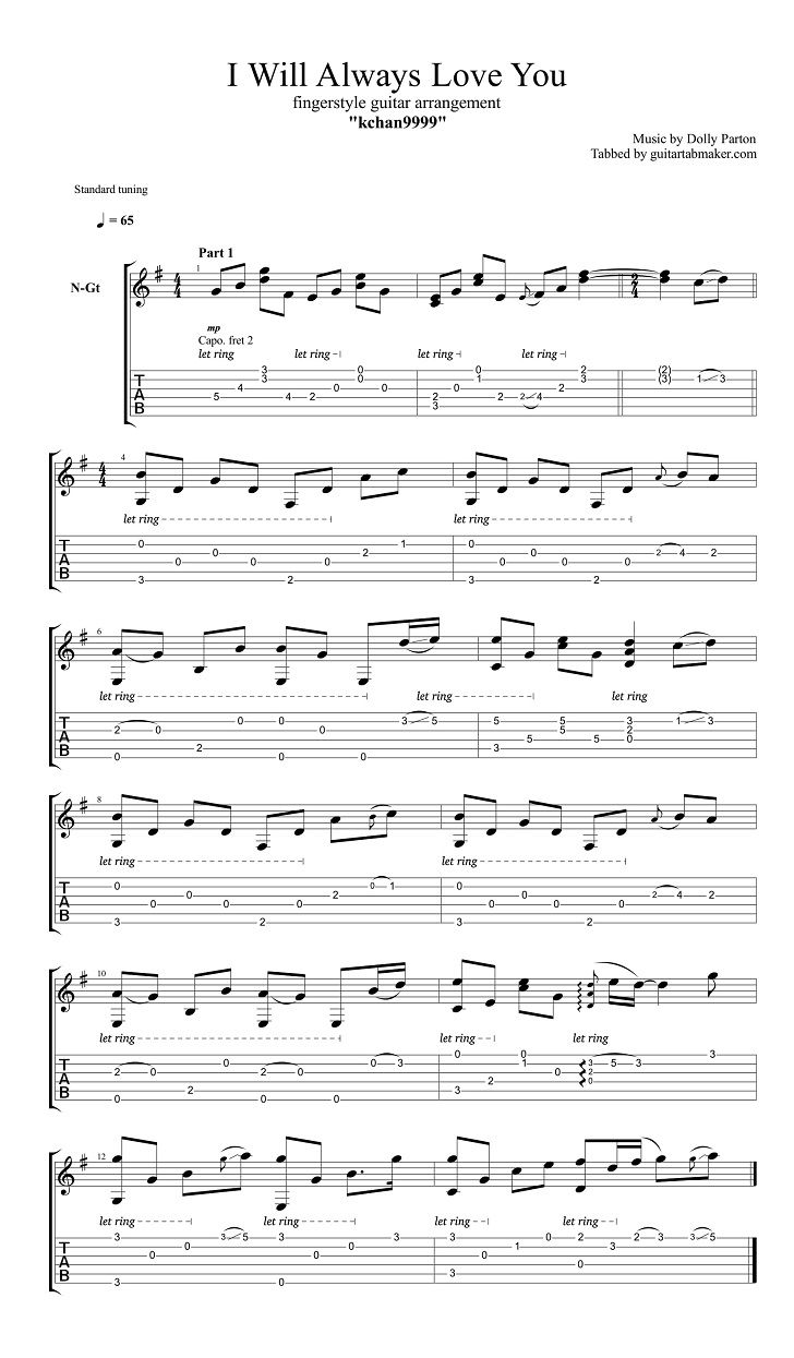 I Will Always Love You Easy Fingerstyle Guitar Tab Pdf Guitar