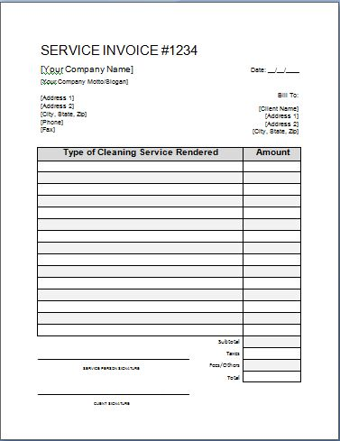 printable cleaning service receipts | Cleaning Invoice Template