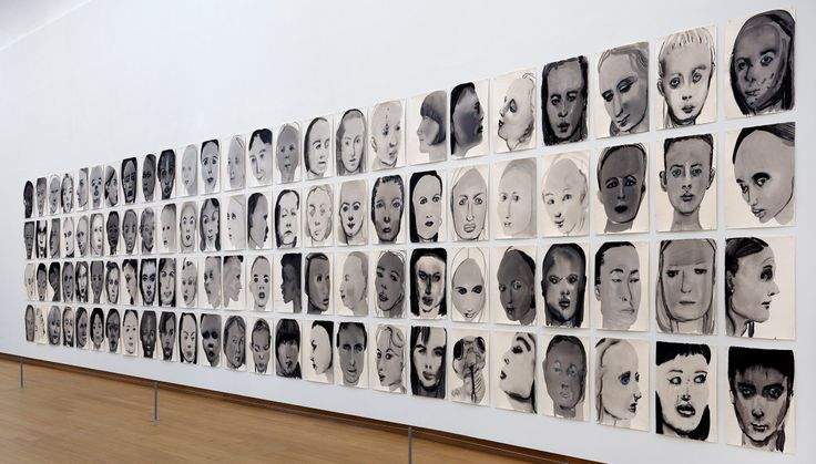 Marlene Dumas: Wall of faces called 'Rejects' (1994-2014) in the opening room, a series of 48 ink and graphite portraits.
