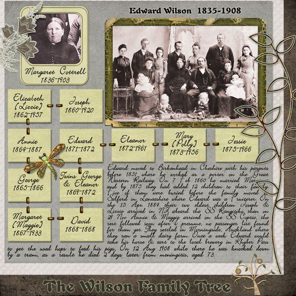 The Wilson Family Tree...along with your 'arty' layouts, remember to scrap a page with an easy to read family tree and in depth genealogical journaling for each family group. The combination of both styles are the very elements of a an interesting and comprehensive heritage album.