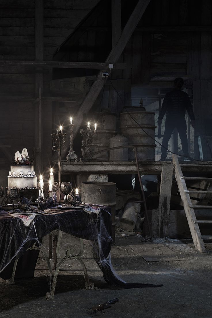 Halloween table setting  www.panduro.com Halloween by Panduro #DIY #table setting  #ghost #spooky #spiderweb #candle #scary #black #weddingdress #brudklänning #dukning #tema #svart #spindelnät #spöke #skugga #cake #pyssel