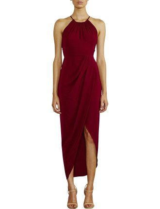 Core High Neck Ruched Dress #davidjones #fashion #burgundy #trend