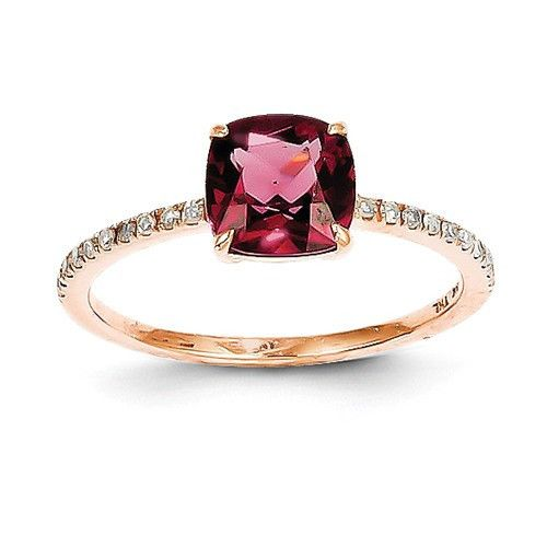 14k Rose Gold Diamond And Cushion Rhodolite Garnet Ring