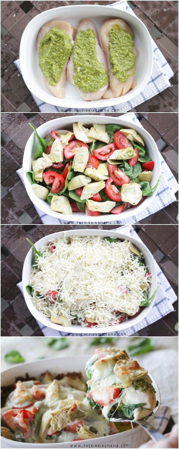 or revise to make it caprese.....Easy Pesto, Spinach & Artichoke Chicken Bake Recipe - Step by step instructions.  You won't believe how easy this is to make!!