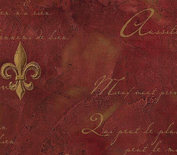Interior place red faux textured fleur de lis wallpaper Fleur de lis wall