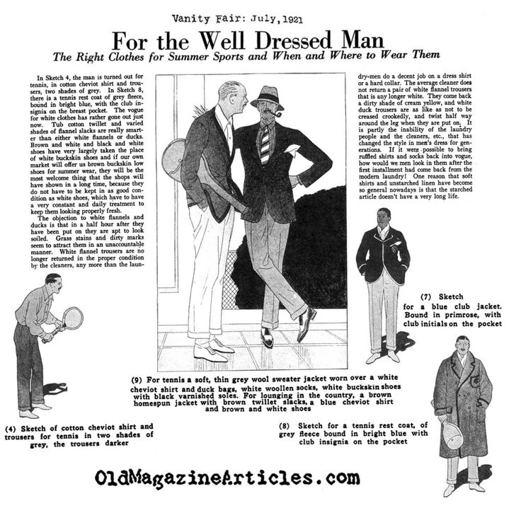 Vanity Fair Magazine, 1921 Four incredible sketches depicting the natty tennis clothing of 1921.