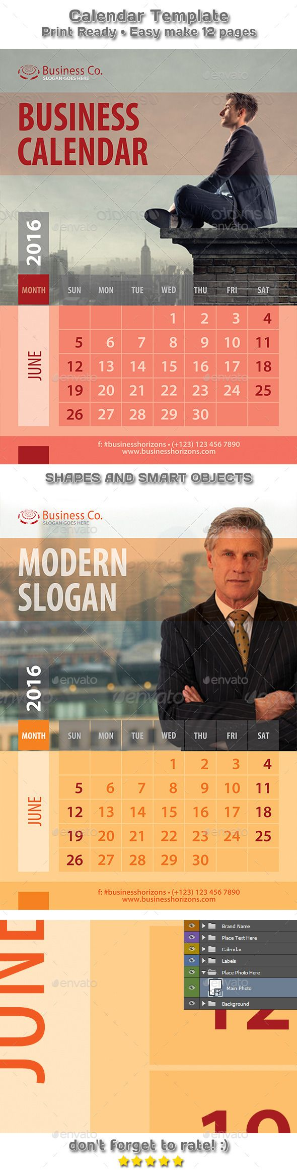 Modern Business Style Calendar 2016 Template #design Download: http://graphicriver.net/item/modern-business-style-calendar-2016-template/12498431?ref=ksioks