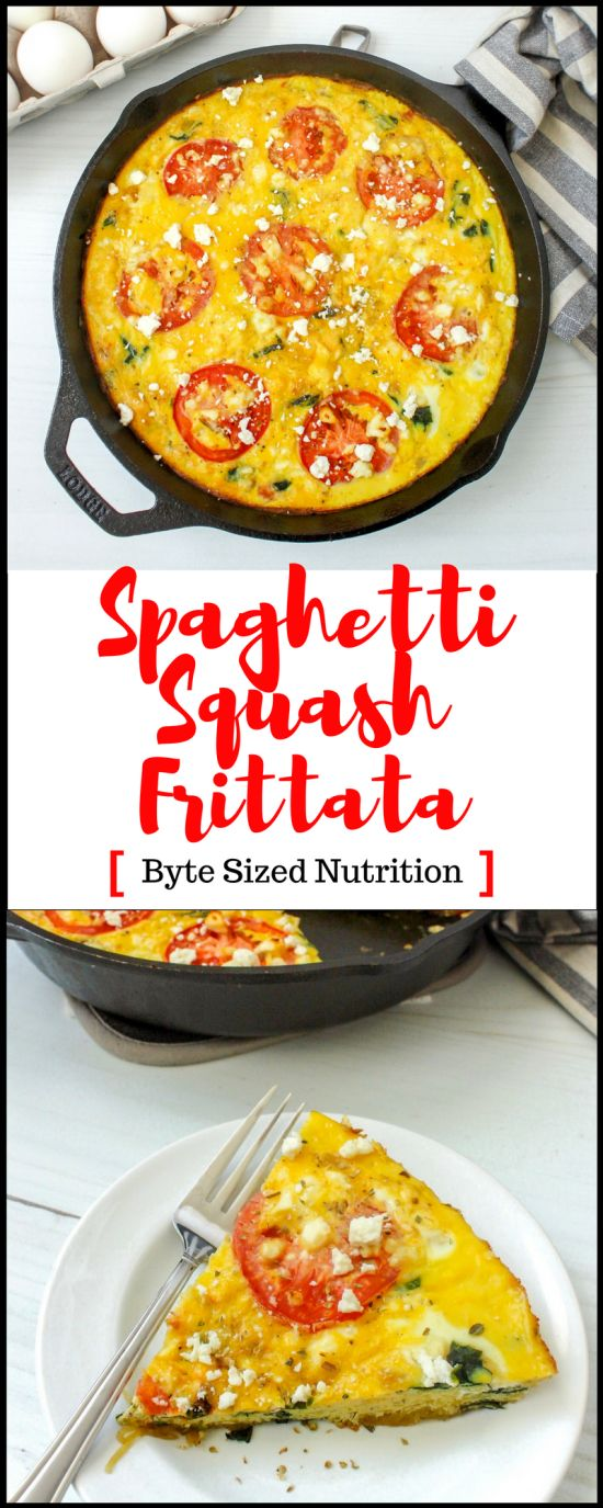 Spaghetti Squash Frittata with Spinach, Tomatoes, and Feta - Byte Sized Nutrition