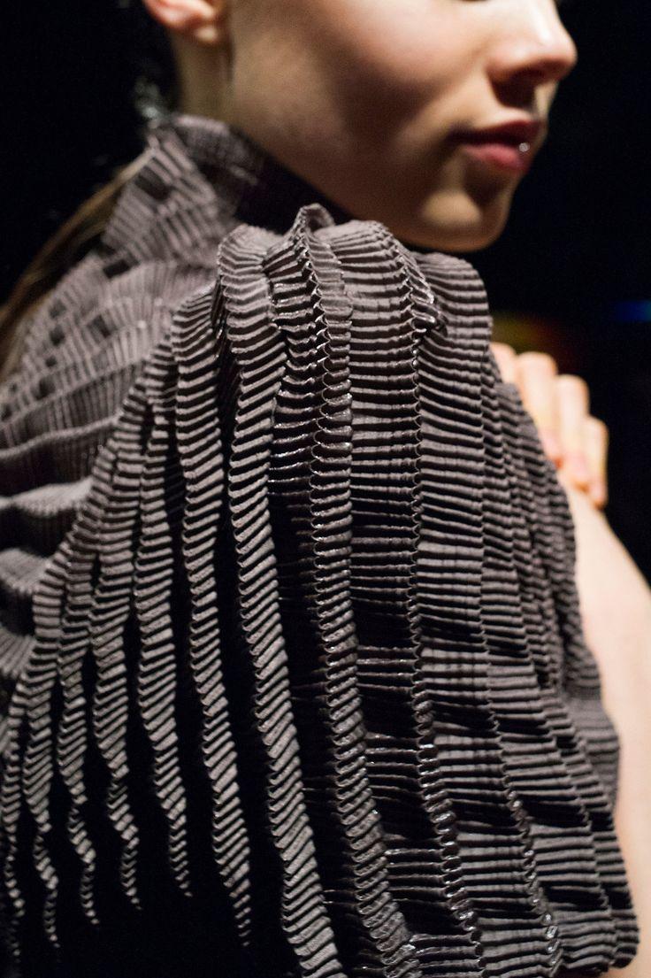 Fabric Manipulation - dress with sculptural pleats & micro textures; textiles; fashion design detail // Iris Van Herpen Fall 2016