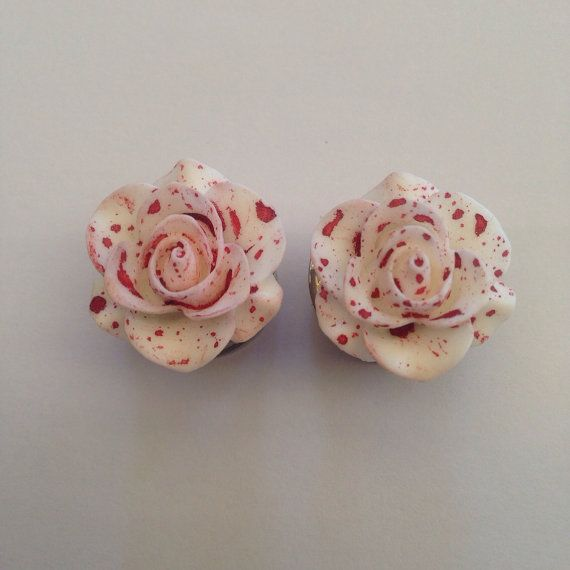 Bloody Rose Ear Plugs by TeacupRose on Etsy, $22.00