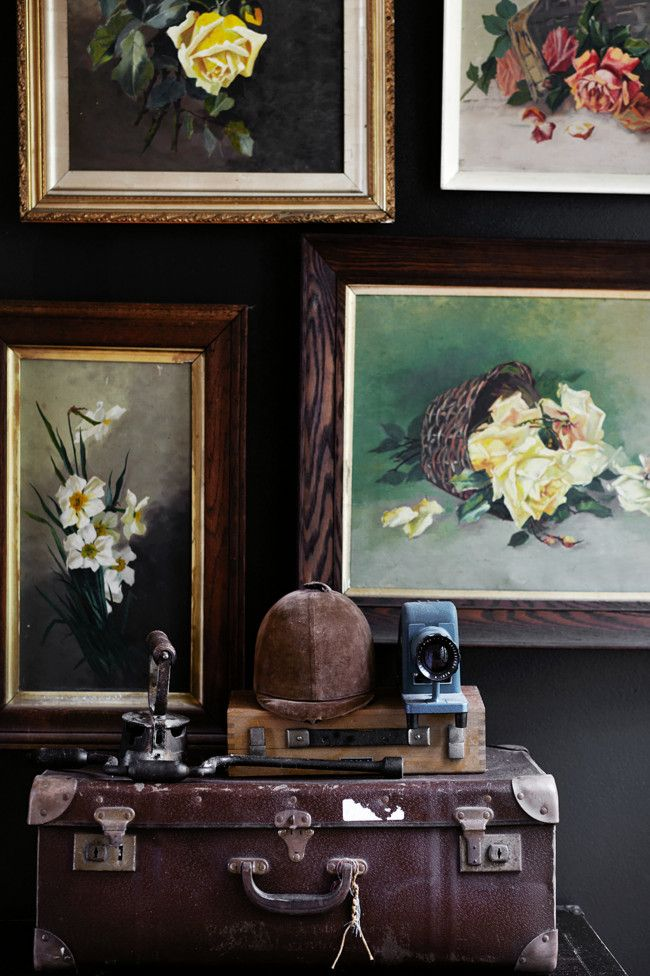 Wentworth Falls cottageFloral Painting, Oil Painting Flower, Dark Walls, Vintage Floral, Victorian Decor, Sharyn Cairn, Fall Cottages, Vintage Vignettes, Black Wall