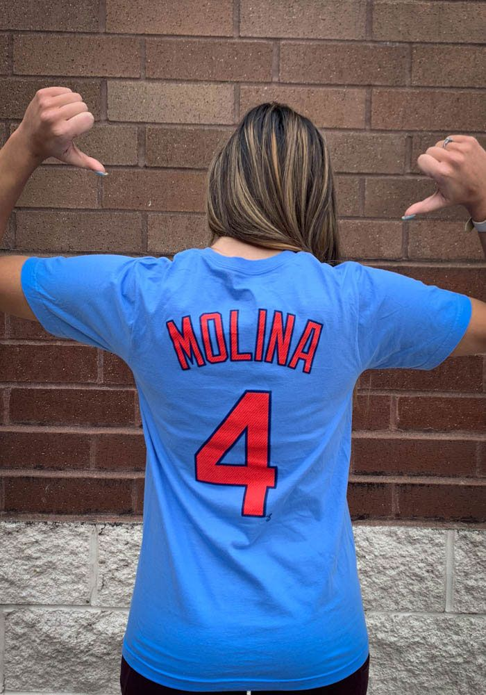 dc456cf4 Yadier Molina St Louis Cardinals Light Blue Name and Number Short Sleeve  Player T Shirt - Image 1