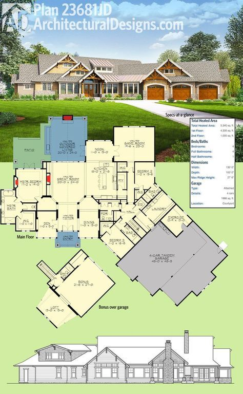 Plan 23681jd 4 Bed Craftsman With Dynamic Floor Plan