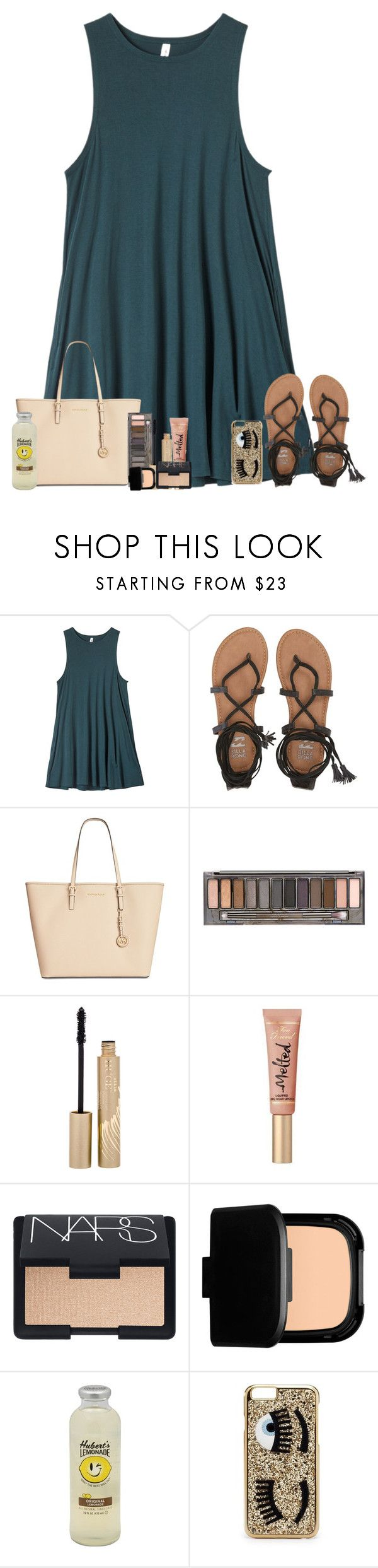 """Promise I'll Be The Cure"" by theafergusma ❤ liked on Polyvore featuring RVCA, Billabong, Michael Kors, Urban Decay, Stila, Too Faced Cosmetics, NARS Cosmetics and Chiara Ferragni"
