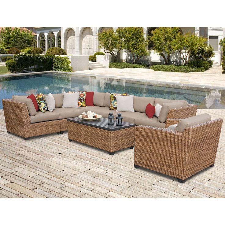 TK Classics Laguna 8 Piece Outdoor Wicker Patio Furniture Set 08d (Size),  Tan