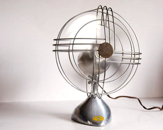 Vintage Fan Art Deco Zephyr Airkooler Chrome and Aluminum Desk Fan