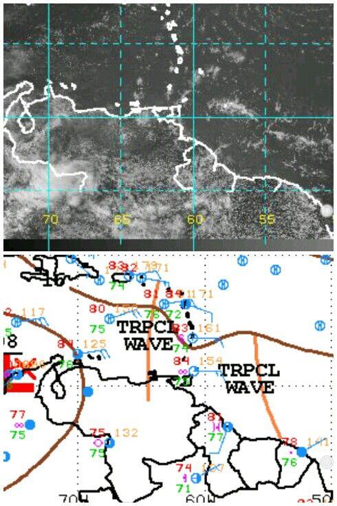 Onda Tropical 8 sobre el Nororiente de Venezuela. Mantiene zonas de nubosidad sobre todo al Suroeste del Estado Sucre. No se le asocia convección nubosa profunda. La Onda Tropical 9, al Norte de Surinam tampoco refleja el satélite nubosidad productora de precipitaciones. Es de hacer notar que el Caribe Oriental está siendo envuelto por una cuña de aire seco, lo que inhibe el desarrollo de nubosidad.