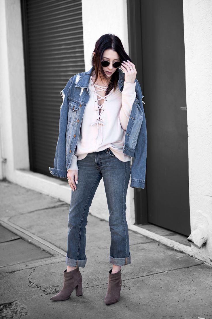 denim jacket levi jeans nude lace up sweatshirt tan suede booties ray