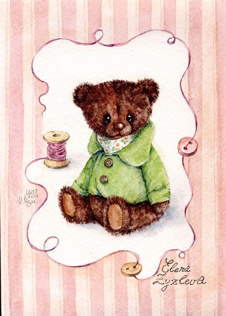 мишка, Елена Зузлева - автор мишки тедди  открытки акварель watercolor postcard art teddy toys