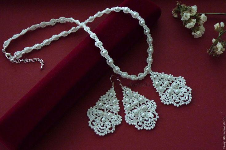 Купить Кружевные свадебные серьги Царевна-Лебедь - белый, айвори, украшения на свадьбу, свадебные украшения