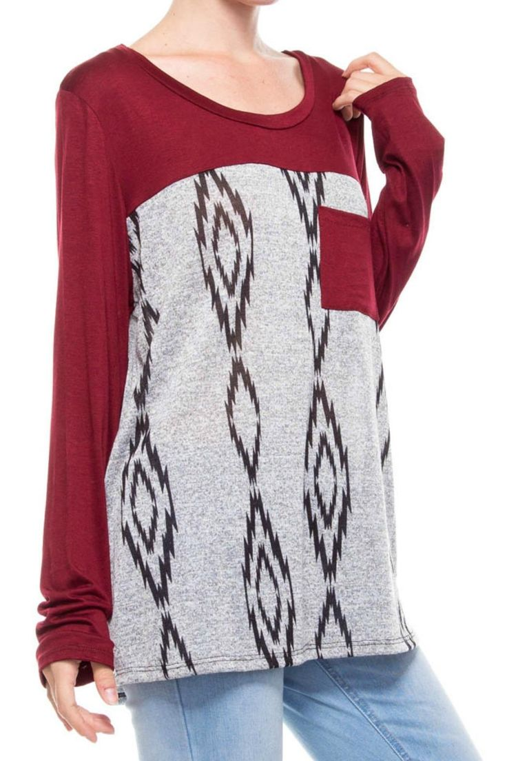 """Printed Aztec top with 28"""" longpocket. Great with leggings or jeans. Dress it up or keep it casual.  Aztec Printed Top by Auditions. Clothing - Tops - Long Sleeve Georgia"""