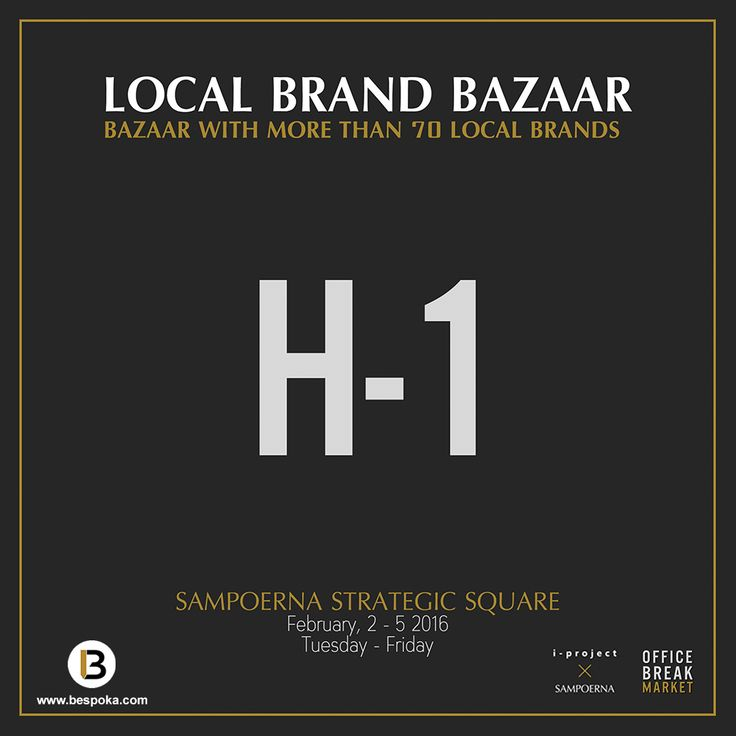 Hi Guys, We are pleased to let you all know that Bespoka will be participating at Local Brand Bazaar at Sampoerna Strategic Square from 2-5 Feb'16. Find our latest collection and special promo from Bespoka. See you there!