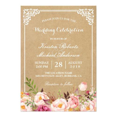 Country Wedding Invitations Rustic Floral Frame Kraft | Wedding Celebration Card