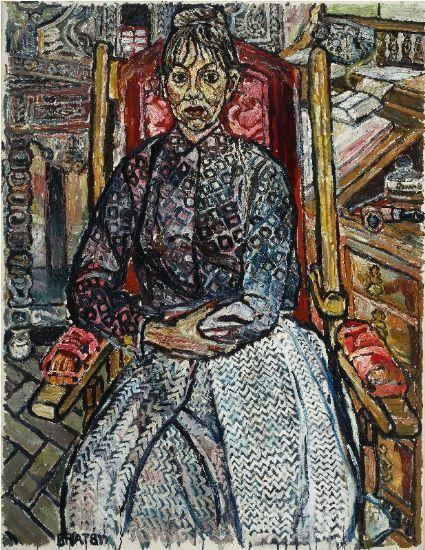 John Bratby 1928-1992 Jan 2 (Janet Churchman - Second Painting) 5th Feb '60 1960 oil on canvas 44 x 34 ins (111.76 x 86.36 cm