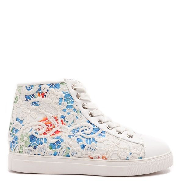 Floral plimsoll booties, with white lace and white sole.