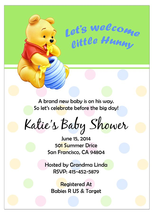 10 best Winnie The Pooh Baby Shower Invitations images on Pinterest ...