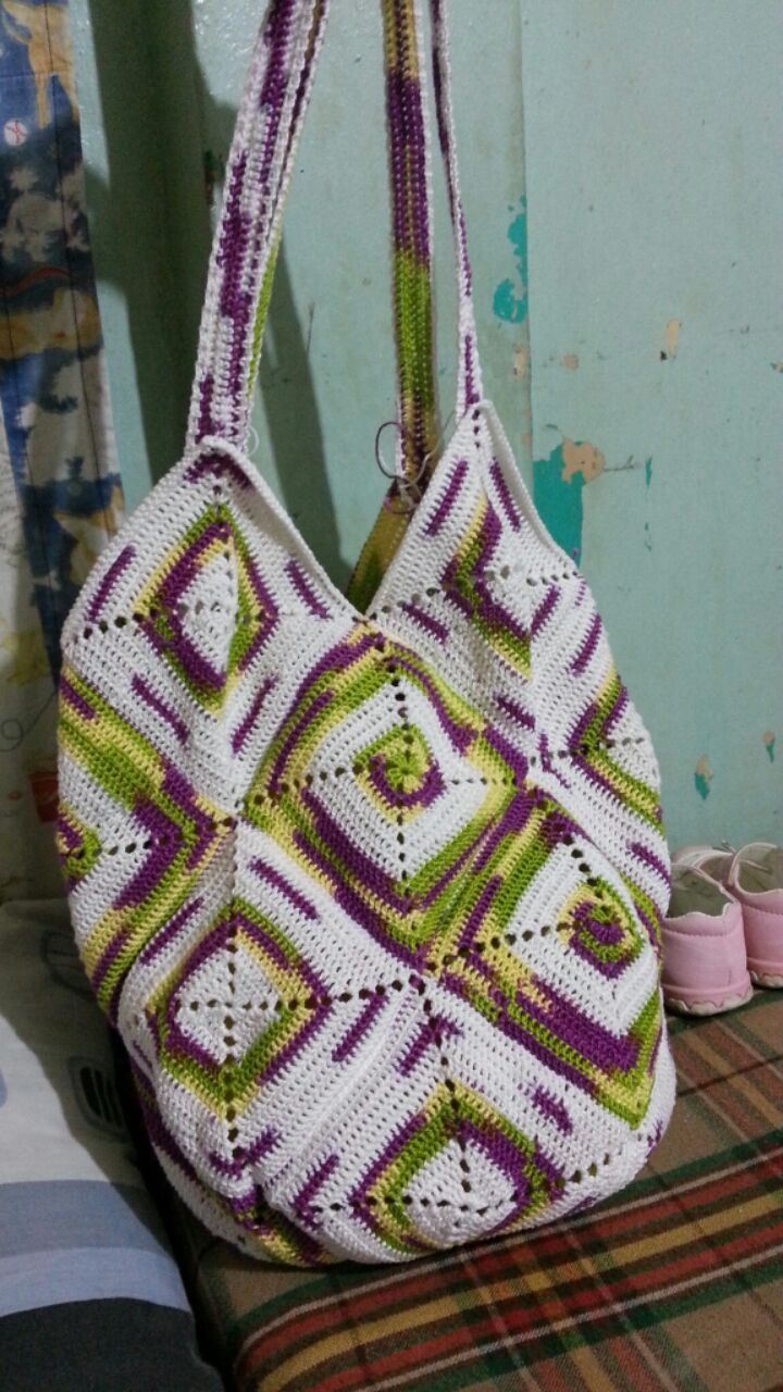 Crochet Grandma Square(100% cotton).. tote bag...