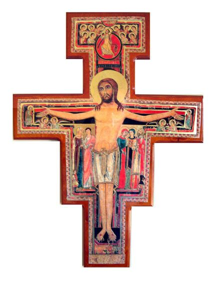 San Damiano Cross Large Large Wooden Crucifix Size 27 H
