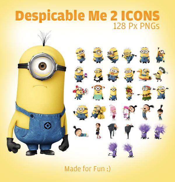 Despicable Me Minions | Despicable Me 2 minion Icons 128 Px PNGs