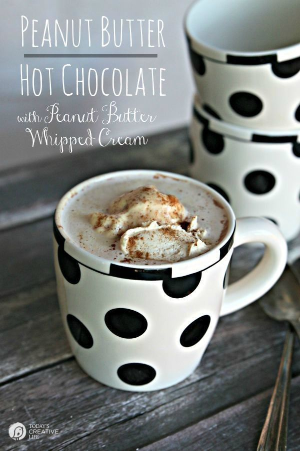 Peanut Butter Hot Chocolate with Peanut Butter Whipped Cream | This homemade decadent hot cocoa drink will please a crowd! It's a dessert! | See the recipe on http://TodaysCreativeLife.com #jifPeanutPowder #walmart
