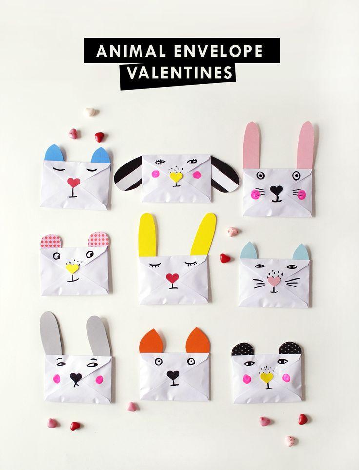 DIY Animal Envelope Valentines from mer mag.
