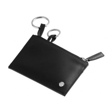 Custodia portachiavi, Business, nera, pelle di vitello italiana, 2 anelli portachiavi, dimensioni: 12 x 7,5 x 1,5 cm.