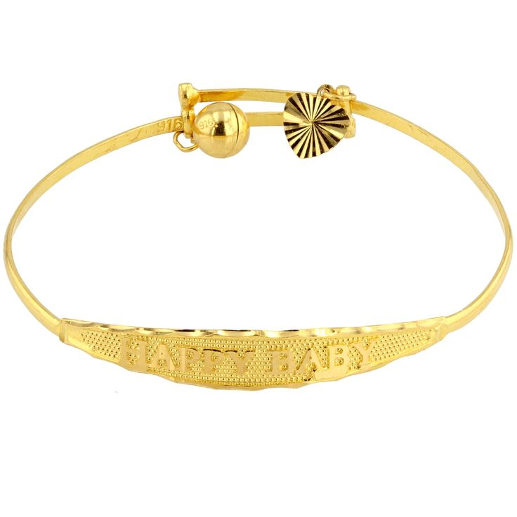Happy Baby 22 carat Yellow Gold Adjustable Bangle - baby size.  At #MarketOrders.net we #Help #Retailers to get best #Quality #Products at #best possible #Price !  #22carat #Gold #Jewellery #Platform #B4B #HappyBaby #Bangle #UK #Indian   www.MarketOrders.net