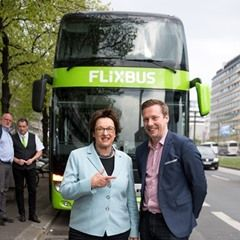 German Minister of Economic Affairs Brigitte Zypries visit the coach company Flixbus in Berlin