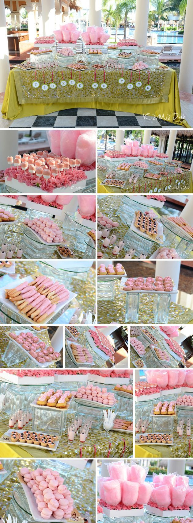 A tickled pink-themed candy favor table at an event held at Now Sapphire! #honeymoons, #destination weddings, #jazzydestinationstravel