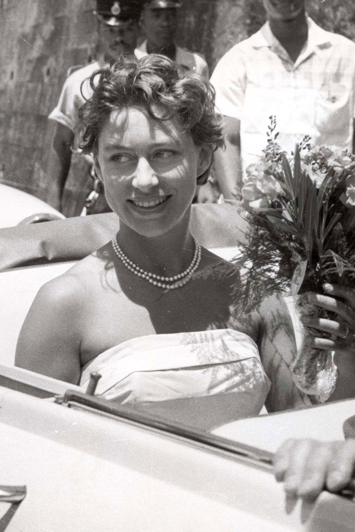 Princess Margaret on her honeymoon in the West Indies, 1968, looking happy and relaxed.