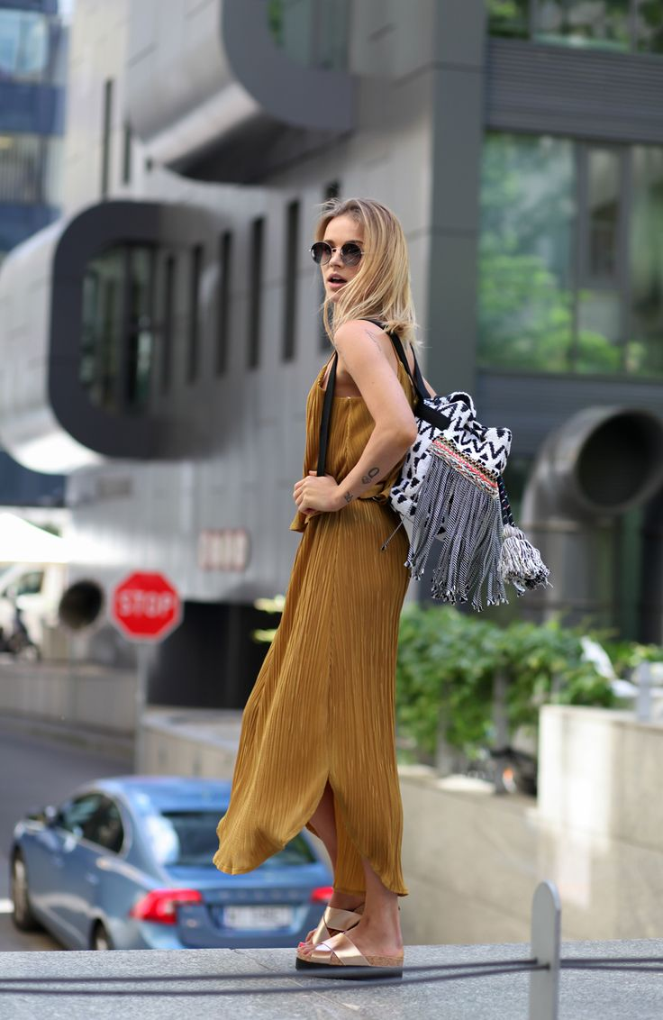 fot Krzysztof Adamek shoes, dress H&M /backpack Parfois / glasses YSL