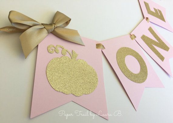 Little Pumpkin High Chair Banner in Pink & Gold. First Birthday Decorations. Pink and Gold Party. Lil' Pumpkin Party