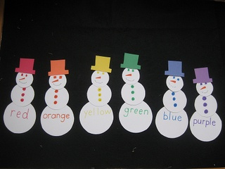 Color matching snowmen. Another good activity for a toddler or a preschooler workbox.