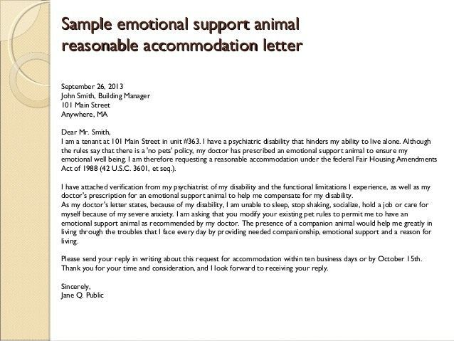 Emotional Support Dog Letter Sample